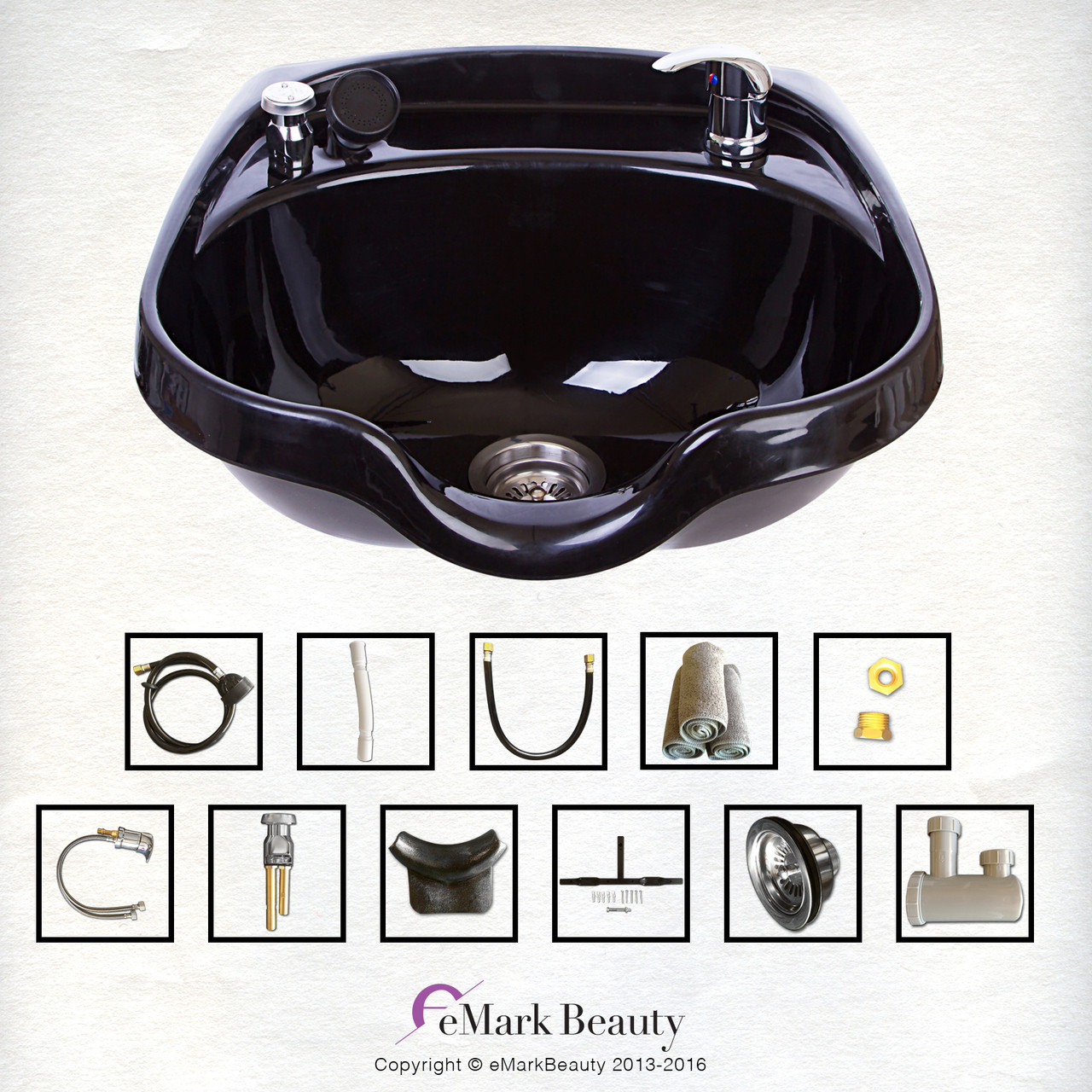 Beauty Shampoo Bowl Sink Beauty Salon Barber Shop Hair Styling Vacuum Towels TLC-B12