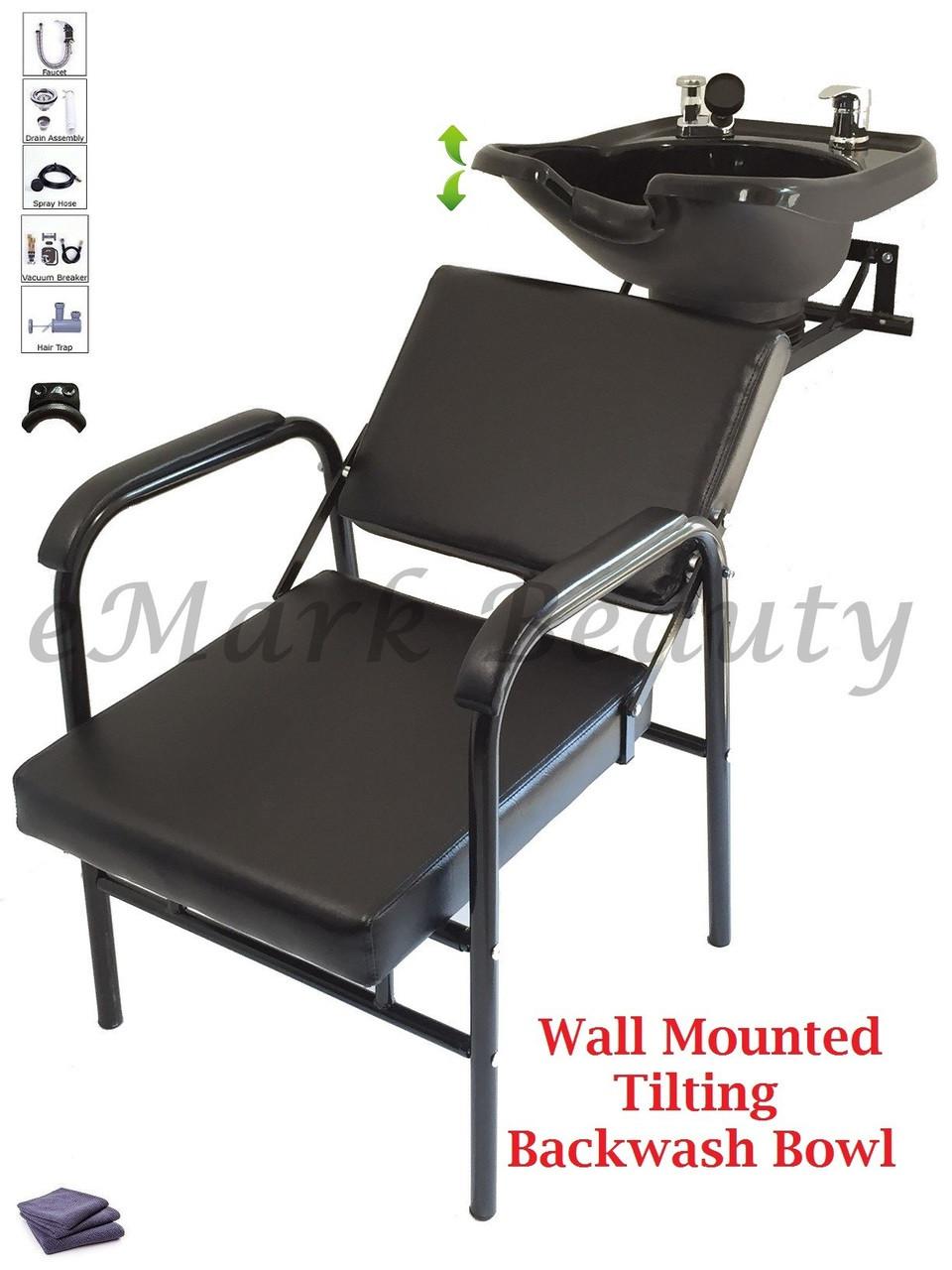 Salon Backwash Shampoo Bowl Sink Wall Mounted Reclining Shampoo Chair B-13WT-216A