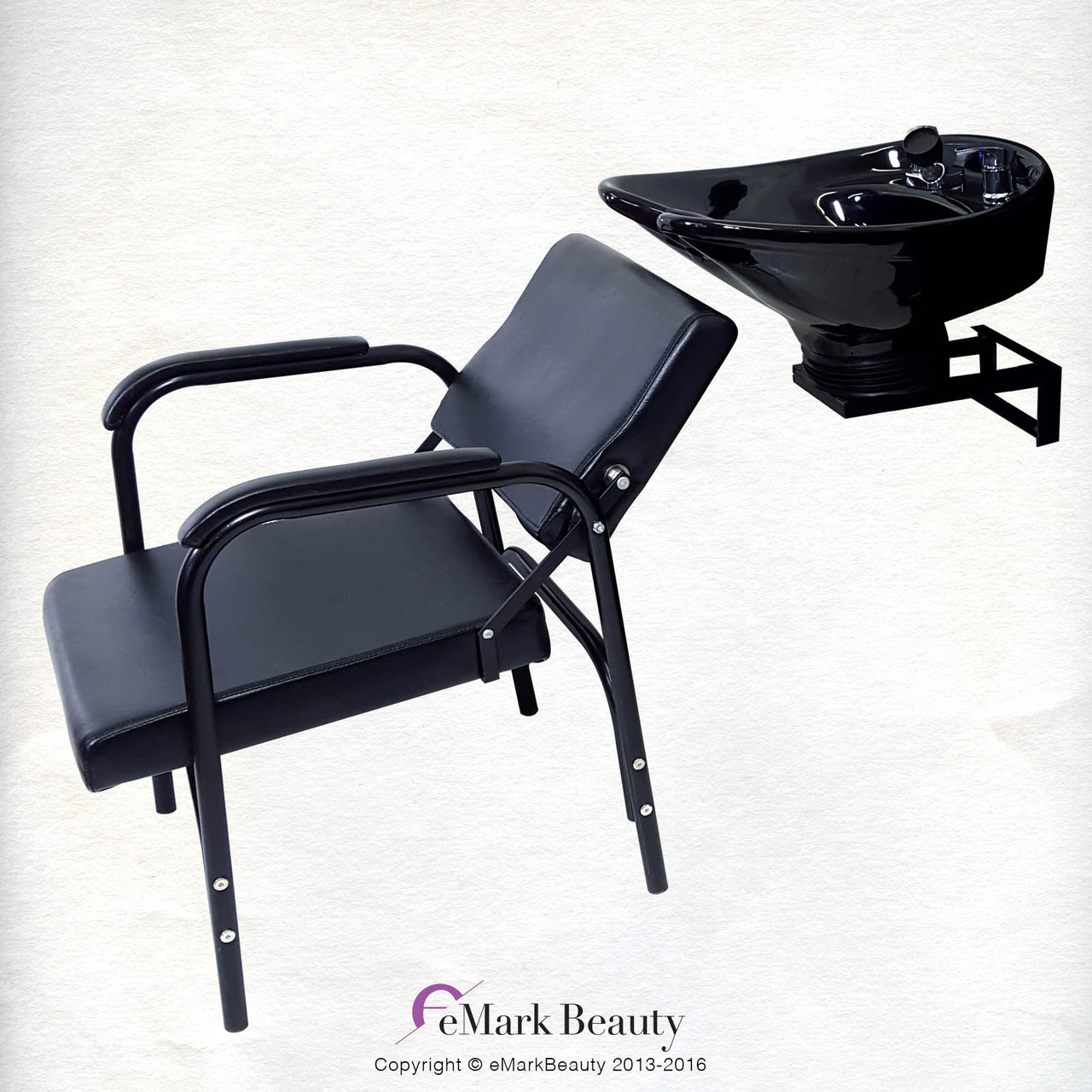 SALE: Ceramic Tilting Shampoo Bowl with Wall Mount attachment and Reclining Shampoo Chair - TLC-B07WT-216