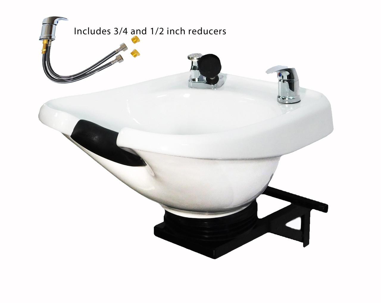 Salon Shampoo White CERAMIC Tilt Bowl Wall Mounted Beauty Salon Equipment TLC-W33-WT