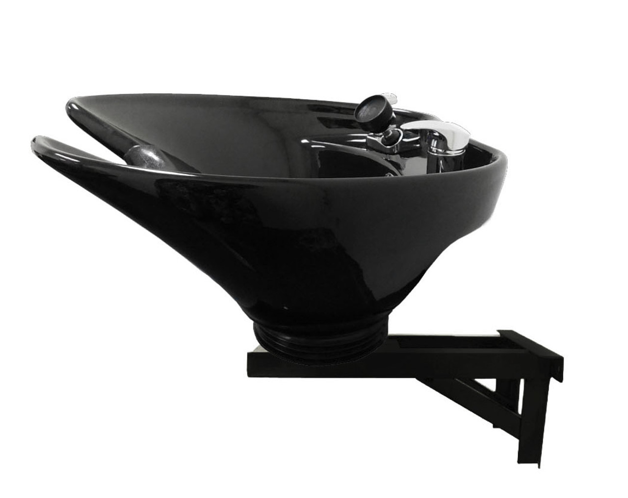 Ceramic Shampoo Bowl Extra Deep and Wide Wall Mounted Black Beauty Salon Sink B35-WT
