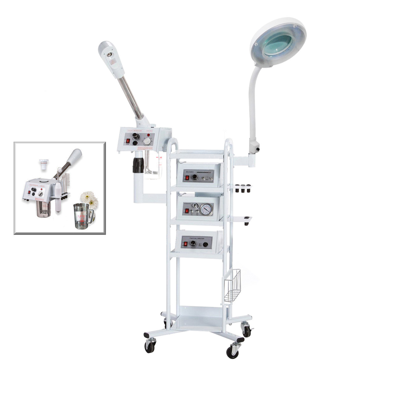 A9 Facial Machine:  High Frequency Aromatherapy Steamer, Galvanic, Brush Massager, Vacuum Extractor, Spray Diffuser,