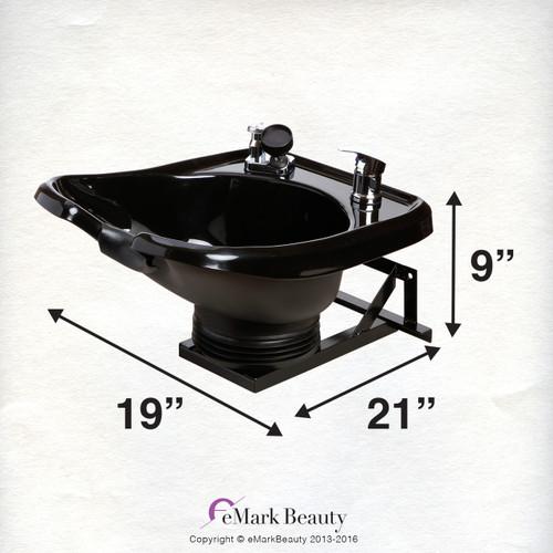 Wall Mounting, Black Shampoo Bowl with a Tilt Mechanism - TLC-B13-WT