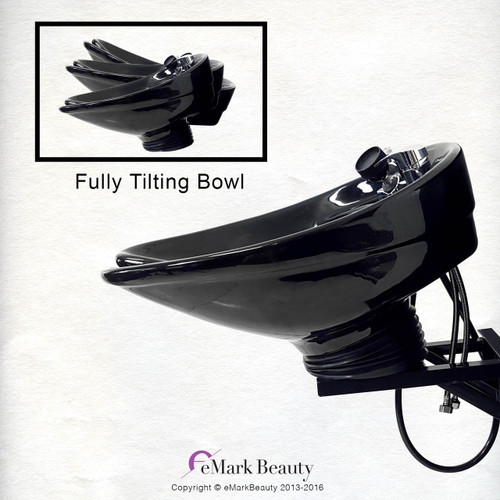 Salon CERAMIC Wall Mounted Tilting Bowl Reclining Shampoo Chair TLC-B07WT-216