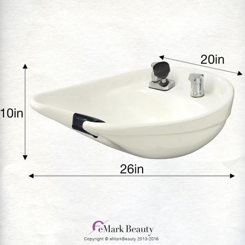 Salon Shampoo White CERAMIC Tilt Bowl Wall Mounted Beauty Salon Equipment TLC-W07