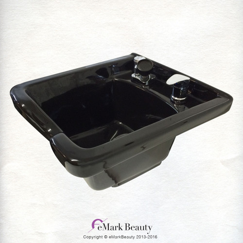 Square Black CERAMIC Wall Mounted Beauty Salon Shampoo Bowl TLC-B41W