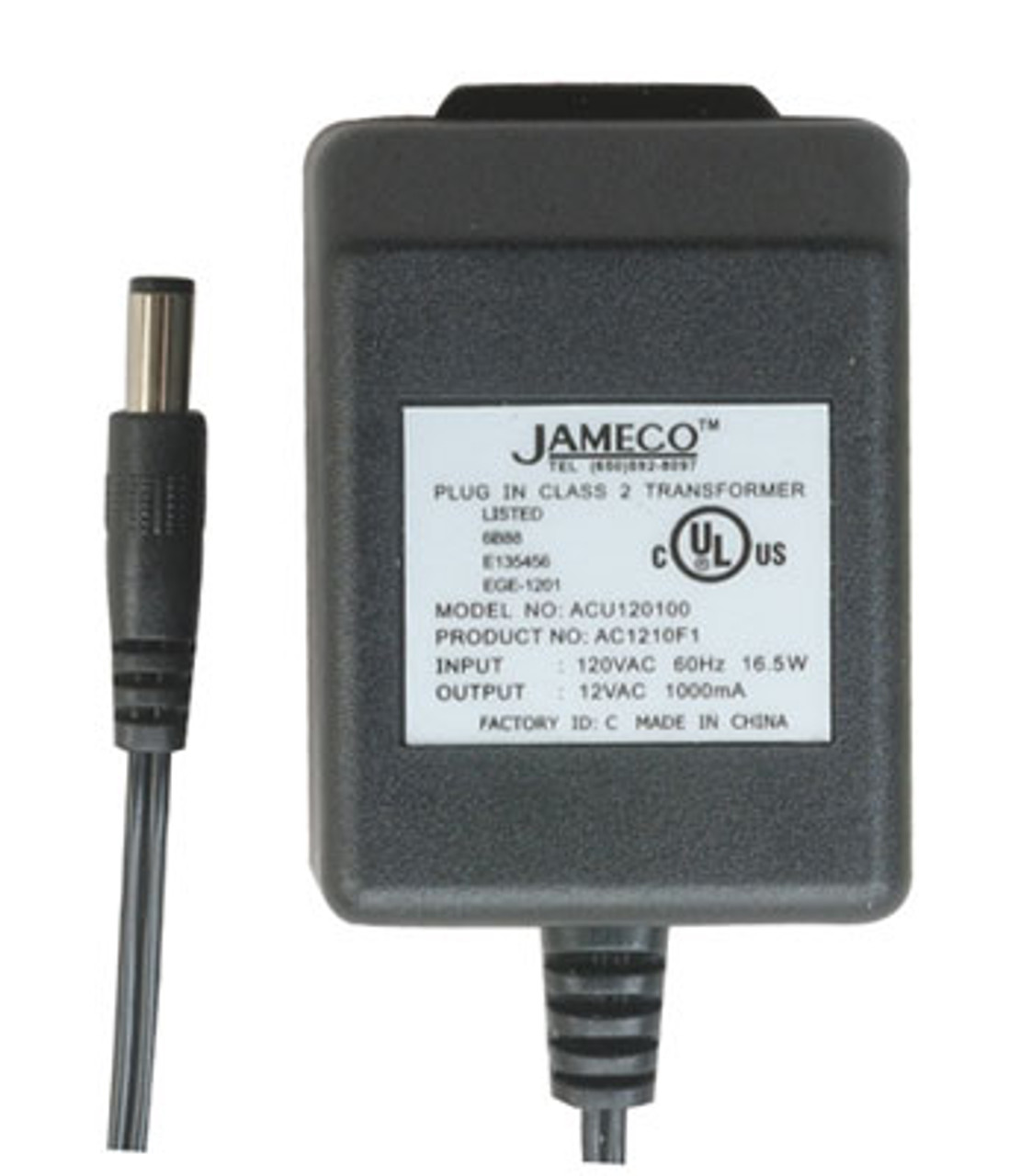 AC to AC Wall Adapter/Transformer, 12V 1000mA, Straight 2 1mm Female Plug