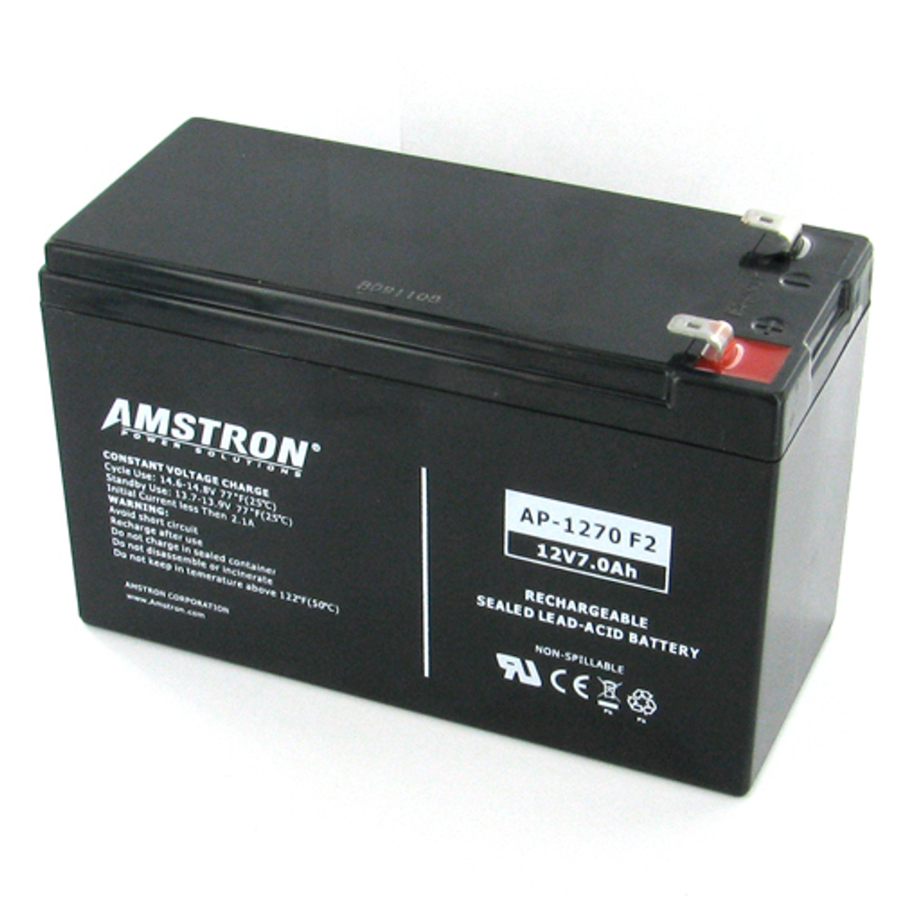 Lead Acid Battery >> Amstron Ap 1270f2 12v 7ah Sealed Lead Acid Battery F2 Terminal
