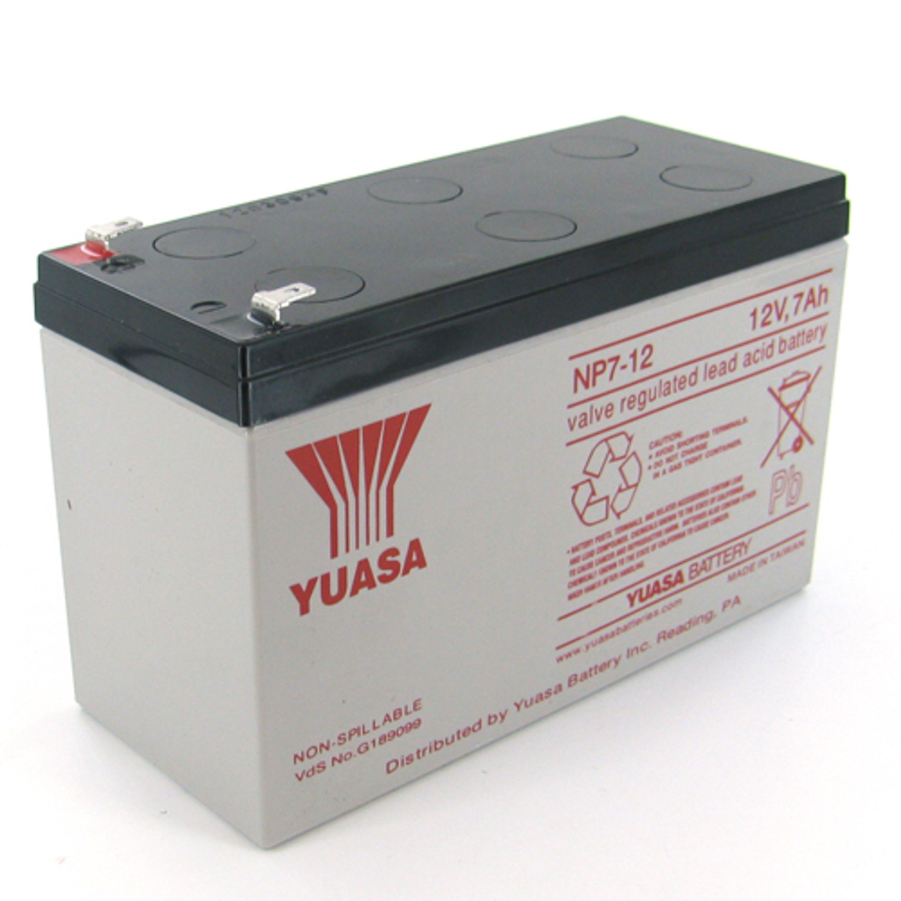 Yuasa NP7-12F2 12V 7Ah Sealed Lead Acid Battery