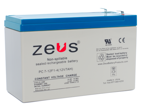 PC7-12-F1 Zeus 12V 7Ah SLA Battery - F1 Terminal