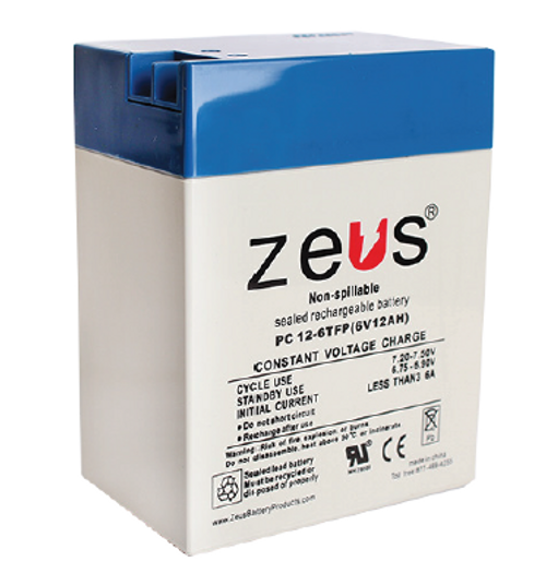 PC12-6TFP Zeus 6V 12Ah SLA Battery - FP Terminal (TOY)