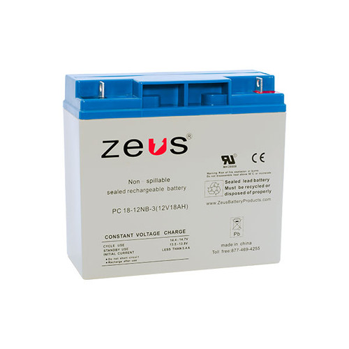 PC18-12NB Zeus 12V 18Ah SLA Battery - NB Terminal