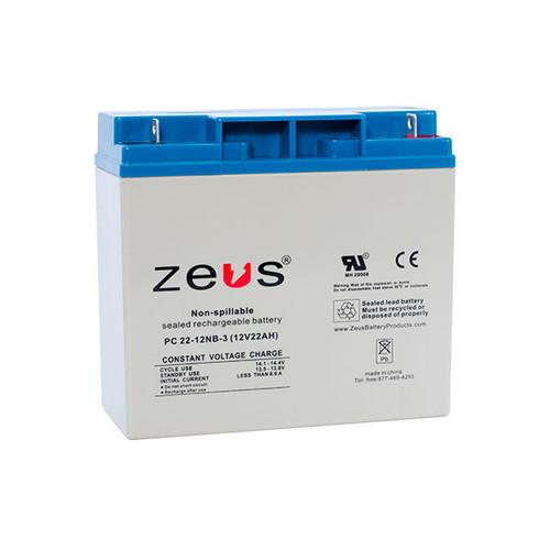 PC22-12NB Zeus 12V 22Ah SLA Battery - NB Terminal