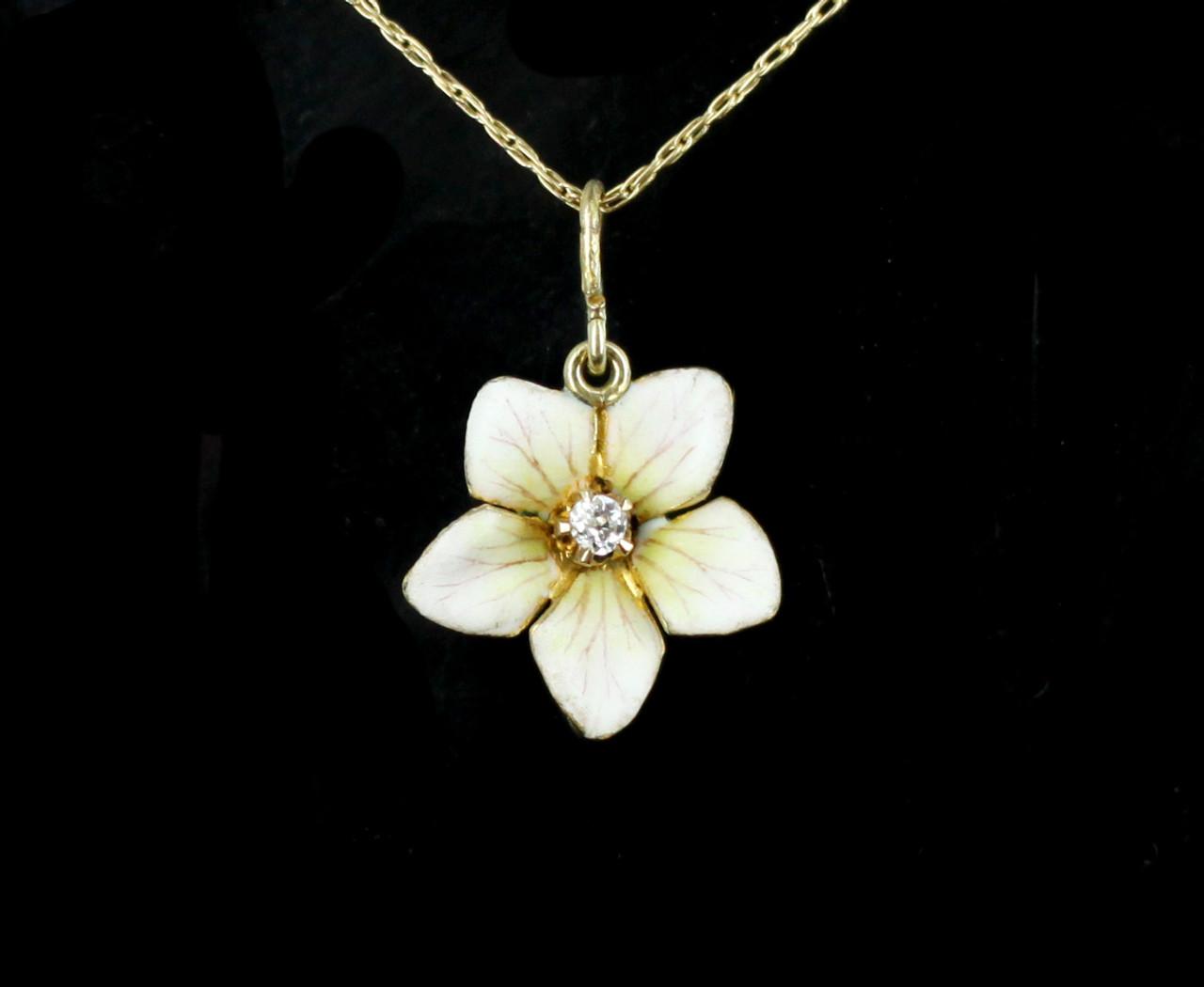 Antique Enamel 10k Gold Plumeria Ghi Vs Diamond Flower Delicate