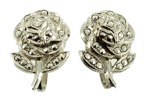 Antique Sterling Deco Marcasite Rhodium Plated Rose Earrings So Pretty!