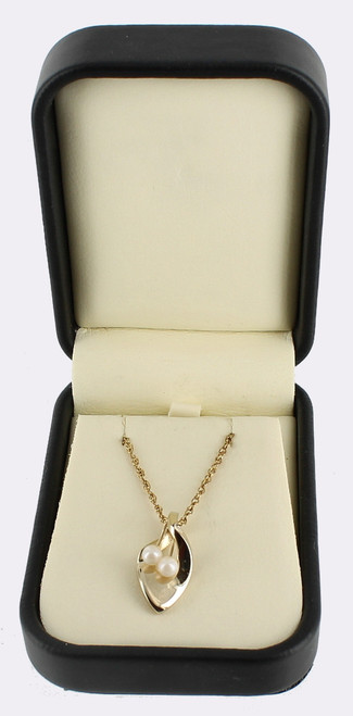 "Vintage 14k Gf Gold Filled 2 Pearl Leaf Twist Pendant Necklace 18"" W/ Orig Box"
