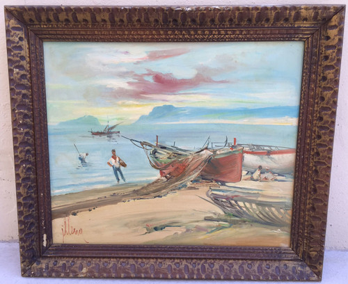 Vintage Oil Canvas Painting Sailboat Nautical Scene Impressionist Manner Illena