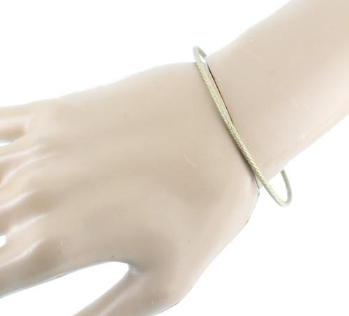 "Antique Art Deco Sterling Rope Twist & Dots Bangle Bracelet 8"""