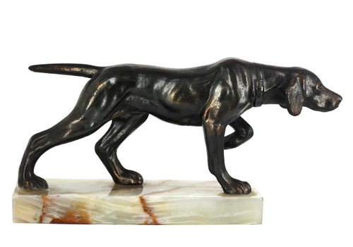 Antique Art Deco Bronze Hunting Dog Hound On Banded Onyx Figurine Statuette