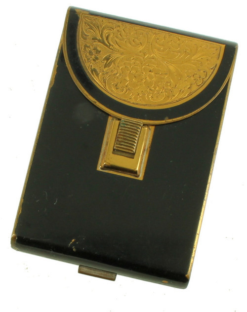 Antique  Deco Cigarette Case Powder Compact Gilt Gold  Black Enamel Germany