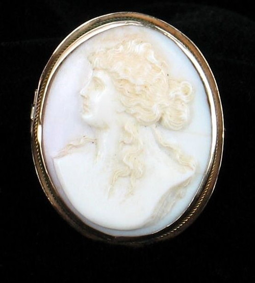 Antique 1860 10K Gold Pink Conch Shell Cameo Pin Victorian Classical Beauty 1.5""