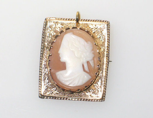 Antique 10K Gold Ornate Engraved Square Shape Left Face Cameo Pin Victorian