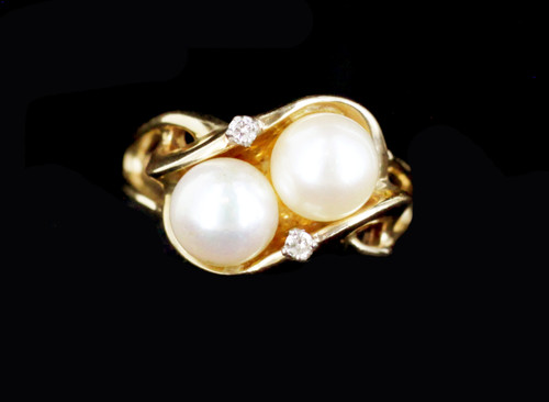 Vintage Mid Century Heavy Solid 14k Yellow Gold Pearl Diamond Ring Size 9