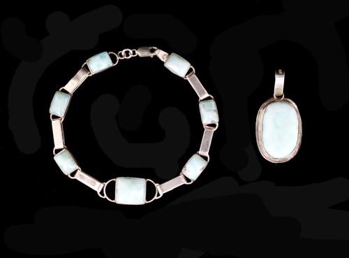 Vintage Retro 1970's Sterling Silver Larimar Pendant Bracelet Jewelry Set