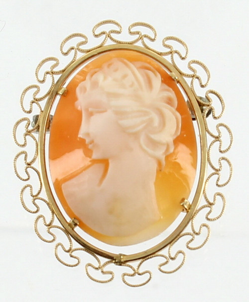 Vintage Krementz Gf Gold Filled Carved Shell Cameo Brooch Pin Mushroom Design