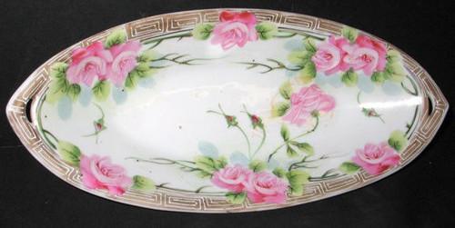 "Antique Nippon Handled Celery Relish Dish Veggie Bowl Serving Piece Japan 13"""