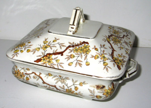 Antique Ridgway Assam Brown Transferware Vegetable Square Victorian Covered Bowl