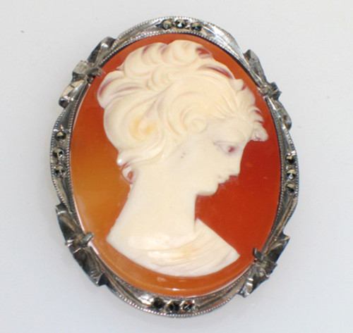 Antique 800 Silver Marcasite Pretty Lady Looking Down Cameo Pin Pendant Germany 1 3/8