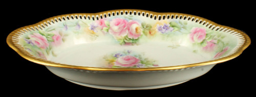Antique Signed HP Porcelain Reticulated Vegetable Dish Germany Roses Violets