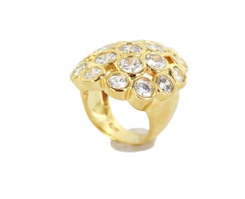 Vintage 18k Gold Plated Diamond Paste Crystal Cluster Statemnet Ring SZ 5 CN