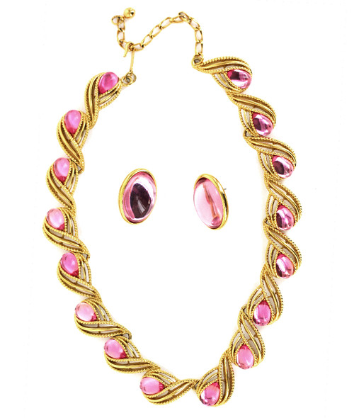 Vintage Big Trifari GoldPlated Pink Jelly Statement Necklace Earring Jewelry Set