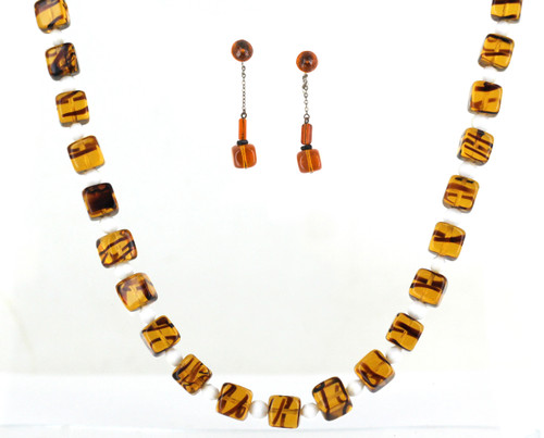 Vintage Retro Tortoise Shell Milk Art Glass Beaded Necklace Earrings Jewelry Set