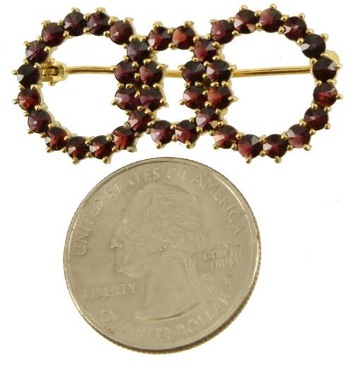 "Antique 10K Gold Bohemian Garnet Triple Ring Circle Wedding Pin 1 1/2"" Victorian"