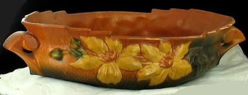 """Vintage Roseville Pottery Clematis Floral Leaves HUGE Console Bowl Large 18"""""""
