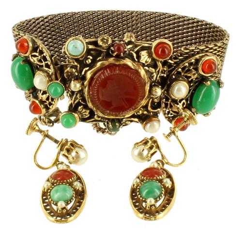 """Antique Austro Hungarian Hobe Attrib Snake Mesh Intaglio Bracelet 7"""" Earrings Set"""