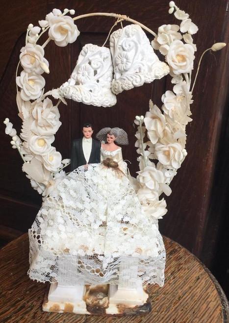 Antique Deco Bride & Groom Wedding Topper Sugar Sculpture  Bells Flowers Stand