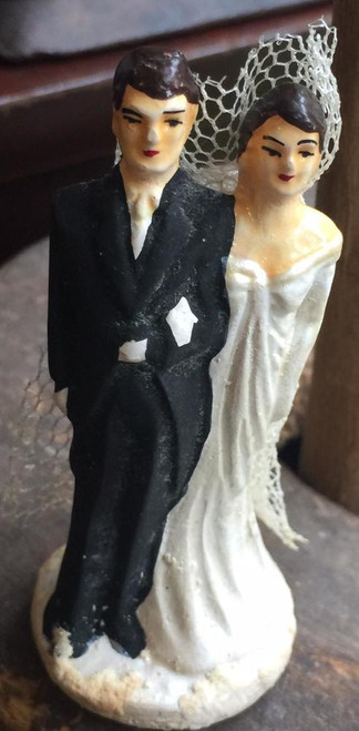 "Antique Art Deco Wedding Cake Topper- Of the Shoulder Dress -Bride & Groom Small Dainty Figurine 3""H"