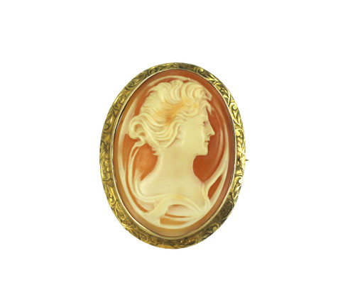 Antique Art Nouveau 10k Yellow Gold Carved Woman Maiden Cameo Pin Brooch