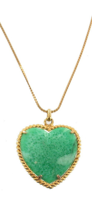 "Vintage Castlecliff Peking Glass Gold Big1.75"" Heart Pendant Necklace18"" Rare Sg"