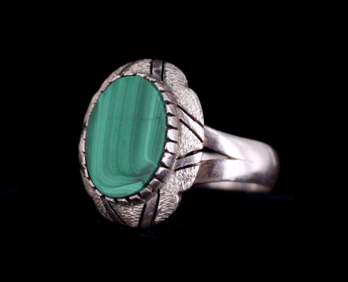 Vintage Sterling Mexican Malachite Textured Stone Ring 8