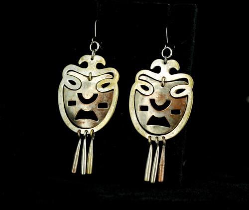 Vintage Los Castillo Taxco Mexico Modernist Mixed Metals Dangle Drop Earrings