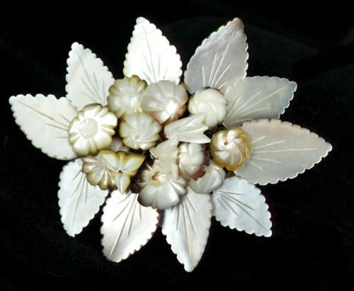 Antique Sterling Mother Of Pearl Carved Floating Leaves Victorian Brooch Pin
