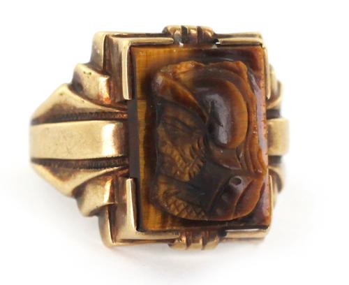 Antique Signet 10k Gold OB Ostby Barton Cameo Gladiator Tigers Eye Unisex Ring 10
