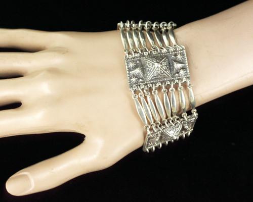 "Vintage Sterling Silver Spanish Taxco Mexico Heavy Multi Link Bracelet 7.25"" L"