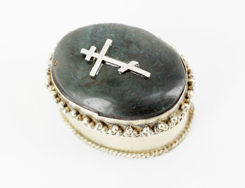 Vintage Russian Silver Plate Bloodstone Agate Orthodox Cross Pill Box