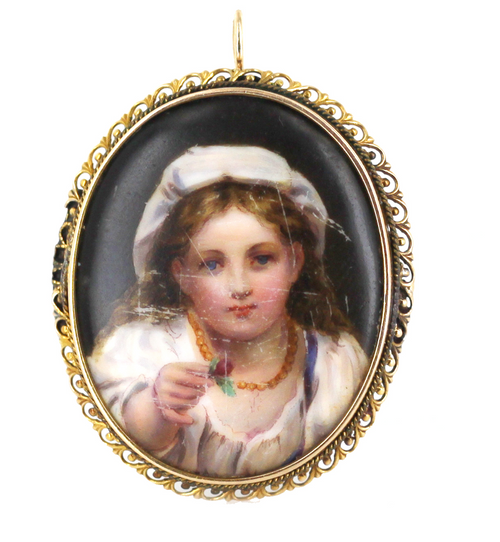 Antique Porcelain Portrait Peasant Girl Tile Plaque Victorian Brooch Pin Pendant